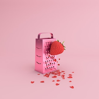 Minimale scène van papier hart verspreid door aardbei handmatige rasp, valentine-concept.