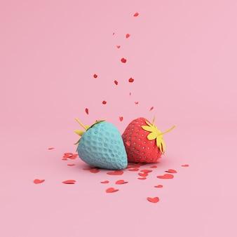 Minimale scène van papieren hart dat van bovenaf naar beide van aardbei valt, valentine-concept.