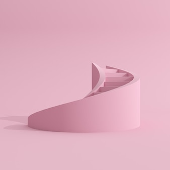 Minimale scène van roze wenteltrap.