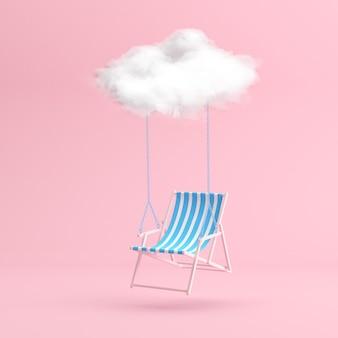 Minimale scène van zwevende strandstoel door de witte wolk