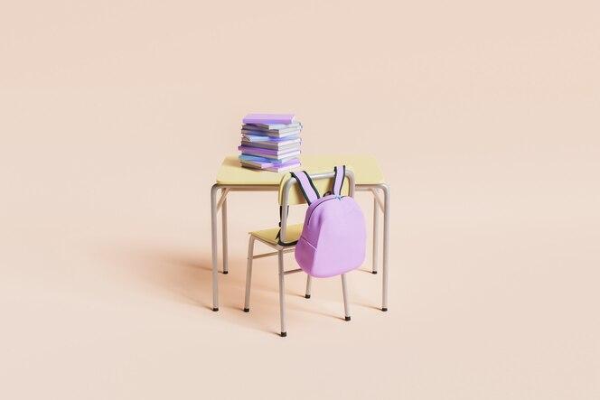 Minimale schoolbank vol boeken met roze rugzak aan de stoel op pastelachtergrond