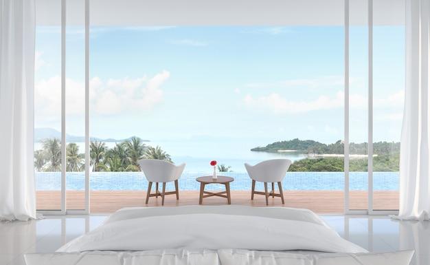 Minimale slaapkamer met zwembad en uitzicht op zee 3d render schuifdeuren open om de natuur te zien