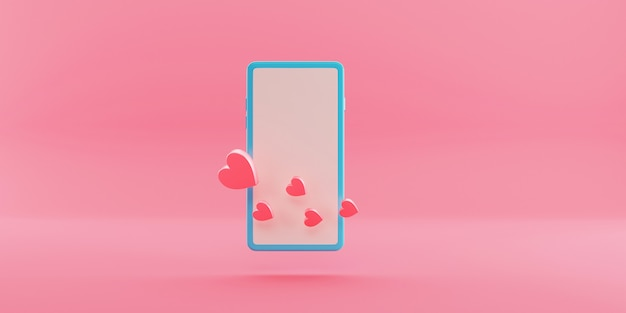Minimale smartphone met hartsymbool tentoongesteld. 3d-weergave.