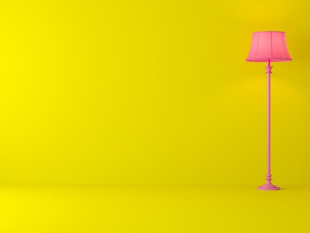 Minimale stijl gele kamer 3d render versier met klassieke roze lamp