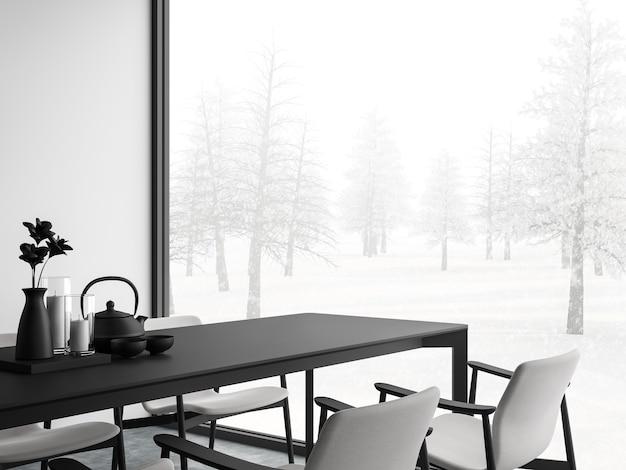Minimale stijl zwart-wit eetkamer 3d render, er zijn betonnen vloer, witte muur. afgewerkt met zwart-wit meubilair, de kamer heeft grote ramen. uitkijkend om uitzicht op de winter te zien.