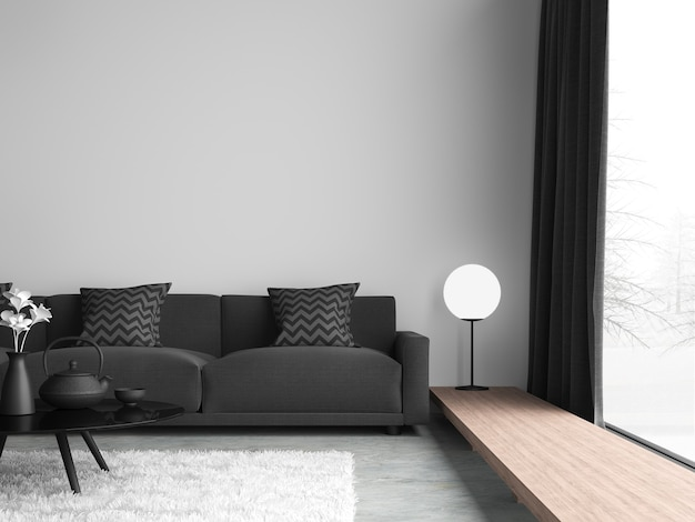Minimale stijl zwart-wit woonkamer 3d render, er zijn betonnen vloer, witte muur. afgewerkt met zwarte stoffen bank, de kamer heeft grote ramen. uitkijkend om het uitzicht op de winter te zien.