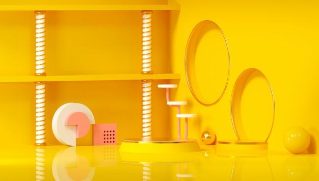 Minimale studio met ronde sokkel en geometrische vorm op gele achtergrond