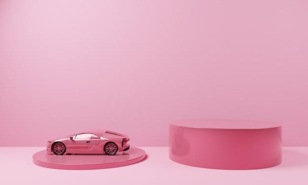 Minimale vorm roze kleur podium met roze supercar.