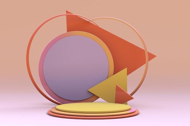 Minimale vormen herfstkleur podium geeloranje paars scène met geometrische vormen