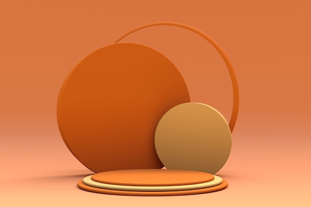 Minimale vormen herfstkleur podium geeloranje scène met geometrische vormen lege vitrine