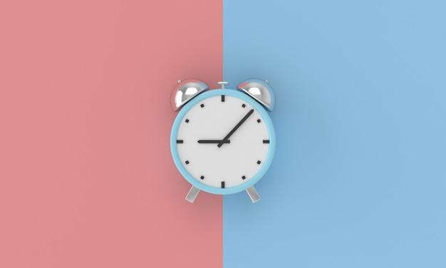 Minimale wekker op blauwe en roze achtergrond