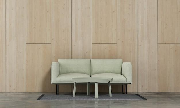 Minimale woonkamer en houten muur textuur achtergrond interieur design