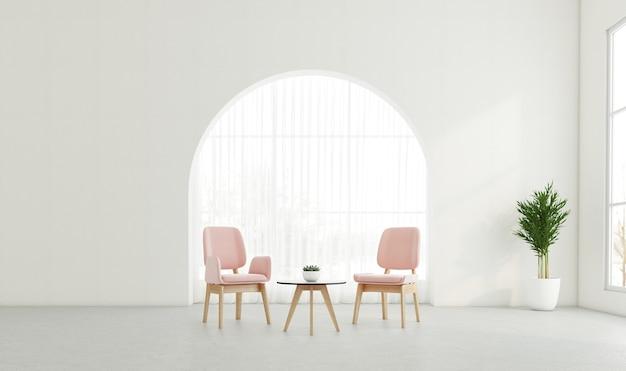 Minimale woonkamer met gebogen raam en witte muur, fauteuil en bijzettafel. 3d-rendering