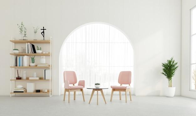 Minimale woonkamer met gebogen raam en witte muur, fauteuil en bijzettafel, boekenplank. 3d-rendering