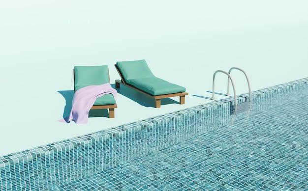 Minimale zwembad ligstoelen scène zomer achtergrond