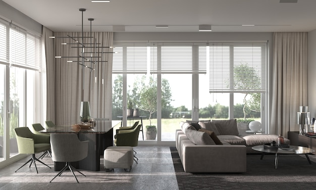 Minimalisme modern interieur. studio living, keuken en eetkamer. 3d-weergave. 3d-afbeelding.