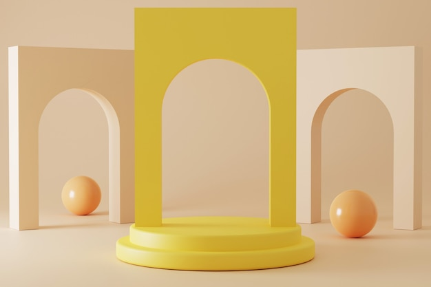 Minimalistisch 3d-rendering podium met pastelkleur.