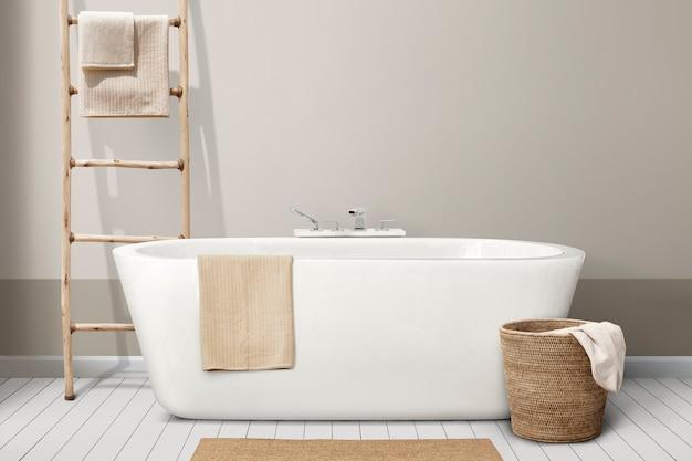 Minimalistisch badkamerinterieur met houten meubilair