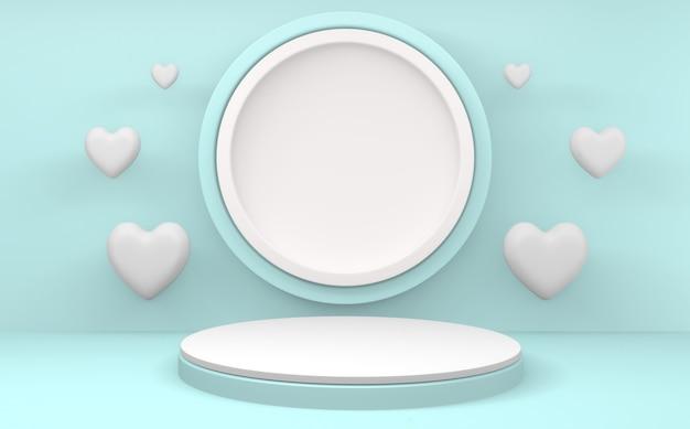 Minimalistisch cyaanblauw podium valentine op witte achtergrond. 3d-weergave