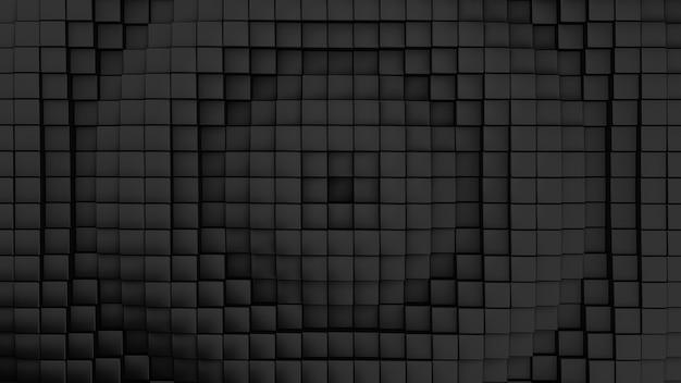 Minimalistisch golvenpatroon gemaakt van kubussen. abstracte zwarte kubieke golvende oppervlakte futuristische achtergrond. 3d render illustratie.