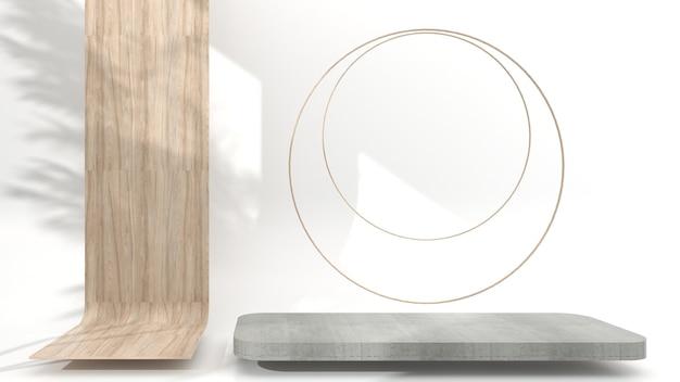 Minimalistisch houten podium met abstracte geometrische betonnen weergavescène voor productpresentatie op de witte achtergrond, 3d-rendering, 3d-afbeelding