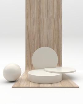 Minimalistisch houten podium met abstracte geometrische weergavescène voor productpresentatie op de witte achtergrond, 3d-rendering, 3d illustratie