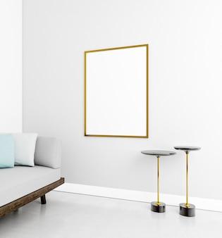 Minimalistisch interieur met elegant frame en bank