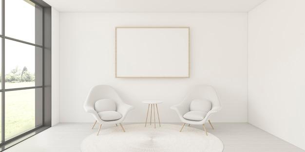 Minimalistisch interieur met elegant frame en fauteuils