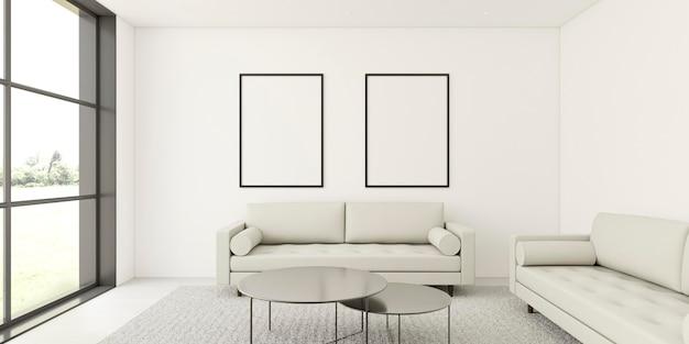 Minimalistisch interieur met elegante frames en bank