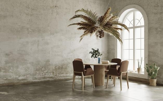 Minimalistisch interieur met grungy muren, boogramen en bloemenwolk boven de tafel 3d render