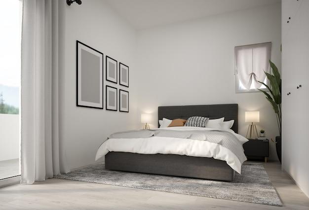 Minimalistisch interieur van moderne slaapkamer 3d-rendering
