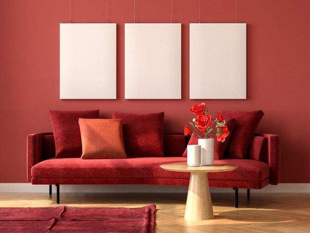Minimalistisch interieur van moderne woonkamer 3d-rendering