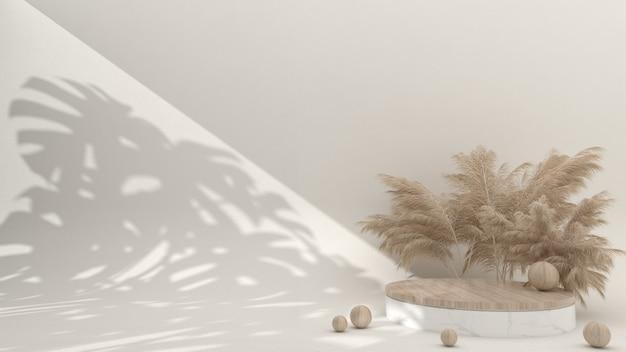 Minimalistisch marmeren en houten podium op de crèmekleurige achtergrond, 3d-rendering, 3d illustratie