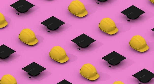 Minimalistisch patroon met gele helmen en zwarte afstuderen caps