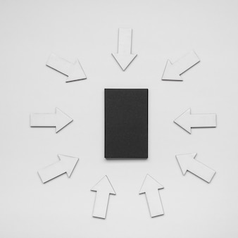 Minimalistisch visitekaartje omringd door pijlen