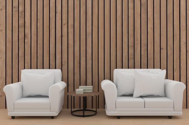Minimalistisch wit bankstelontwerp in houten ruimte in het 3d teruggeven