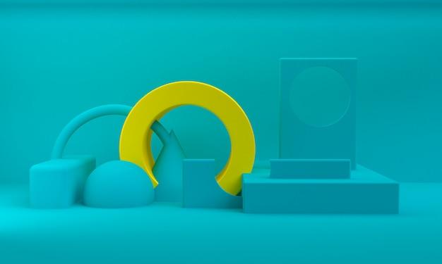 Minimalistische abstracte achtergrond, primitieve geometrische figuren, 3d render.
