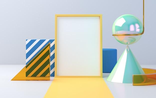Minimalistische abstracte achtergrond, primitieve geometrische figuren, pastelkleuren, 3d render