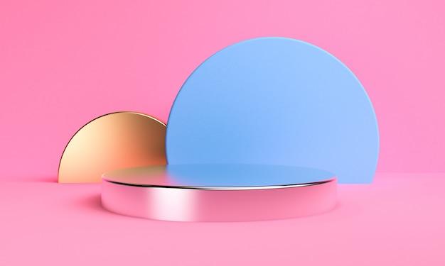 Minimalistische abstracte achtergrond, primitieve geometrische podiumcijfers, 3d pastelkleuren, geven terug.