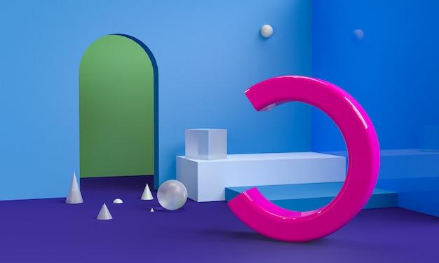 Minimalistische abstracte primitieve geometrische figuren, pastel kleuren, 3d render