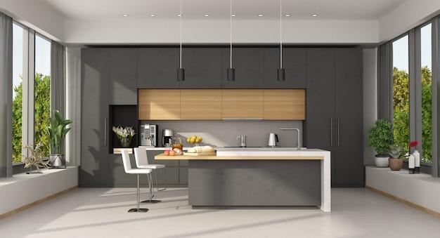Minimalistische betonnen en houten keuken met kookeiland en groot raam