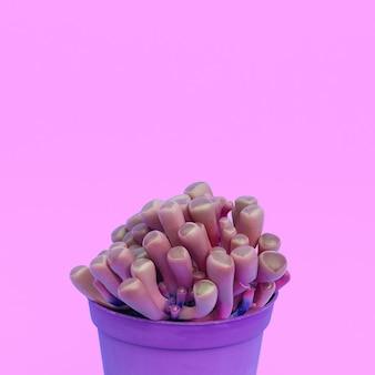 Minimalistische concept art voor cactusliefhebbers. cactussen in pot. pastelkleuren trend