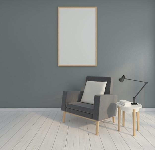 Minimalistische fotolijst, fauteuil, bijzettafel en grijze muur. 3d-weergave