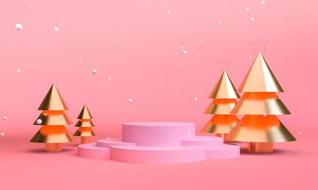 Minimalistische geometrische scène met kerstthema's