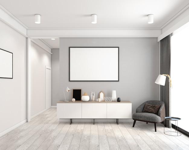 Minimalistische kamer met dressoir en fotolijst, fauteuil en vloerlamp. 3d-rendering