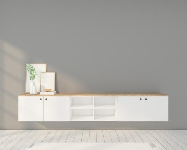 Minimalistische kamer met fotolijsten, tv-meubel en grijze muur. 3d-weergave