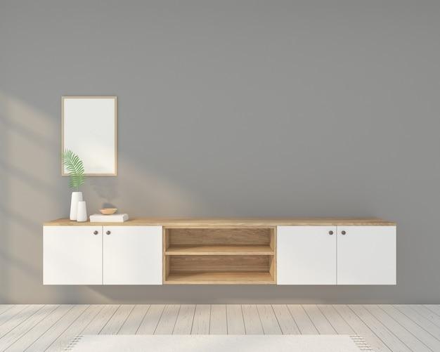 Minimalistische kamer met houten tv-meubel, fotolijst en grijze muur. 3d-weergave