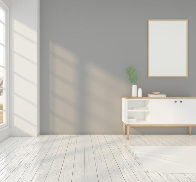 Minimalistische kamer met wit dressoir, fotolijst en grijze muur. 3d-weergave