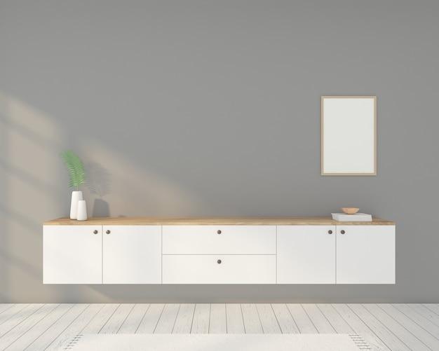 Minimalistische kamer met witte tv-kast, fotolijst en grijze muur. 3d-weergave