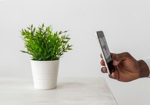 Minimalistische kantoor mobiele telefoon en plant